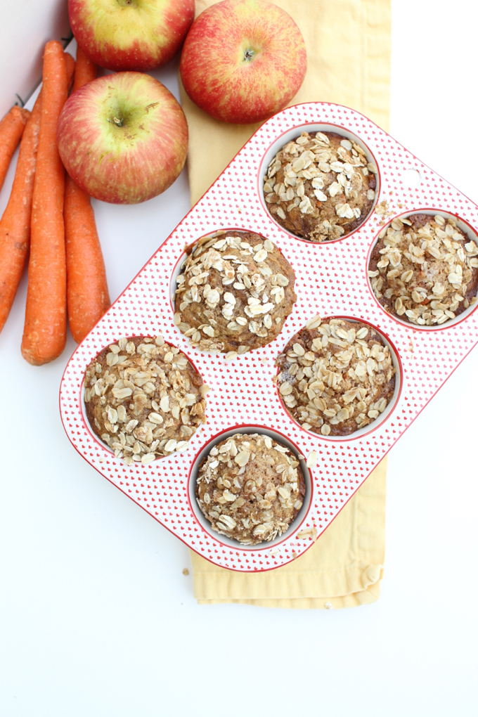 Apple Carrot Muffins with Streusel Topping