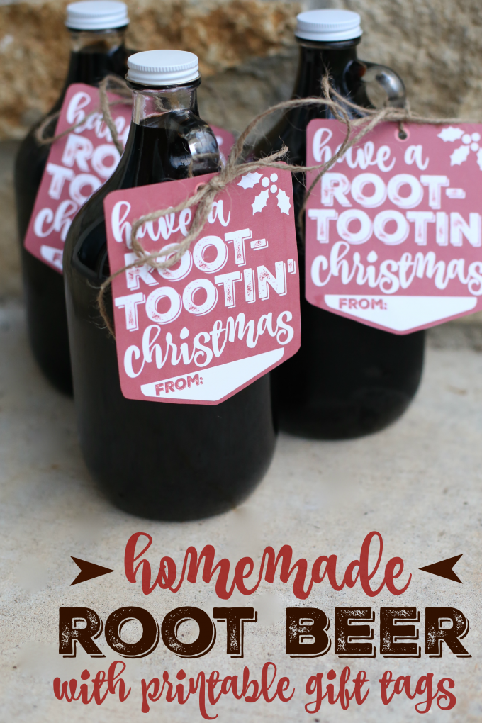 Homemade Root Beer with Printable Gift Tags