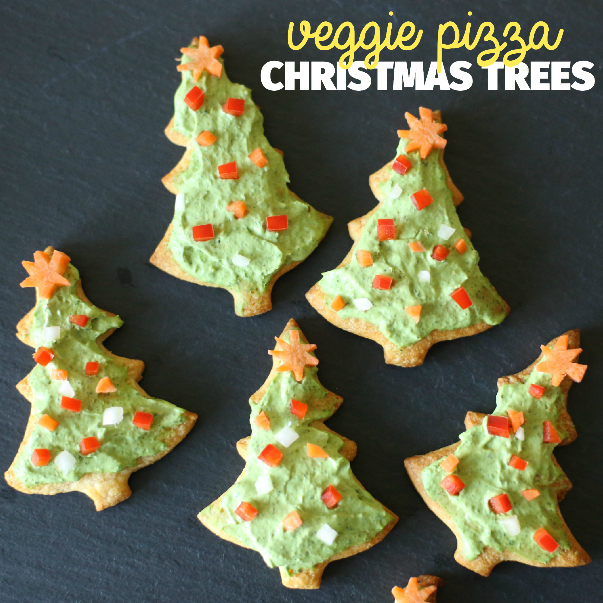 Veggie Pizza Christmas Trees - Paintbrushes & Popsicles
