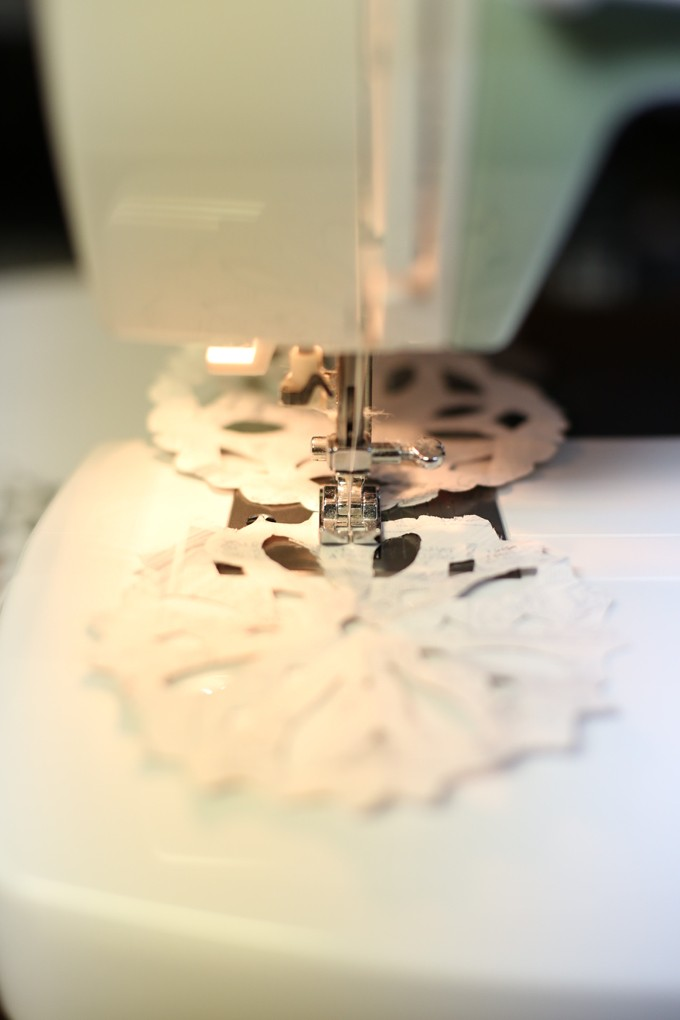 Sewing snowflake garland