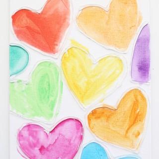 Watercolor Conversation Heart Art