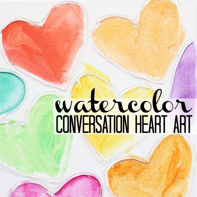 Watercolor Conversation Heart Art