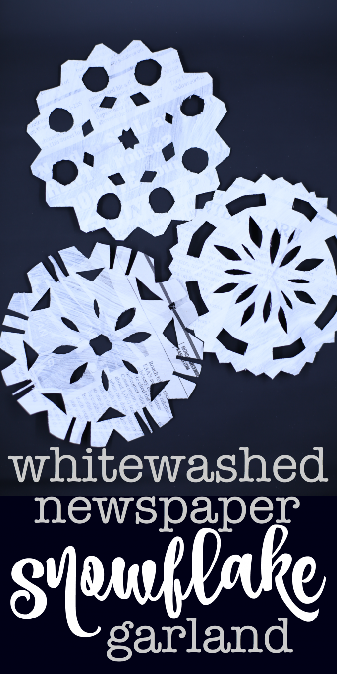 Whitewashed Newspaper Snowflake Garland
