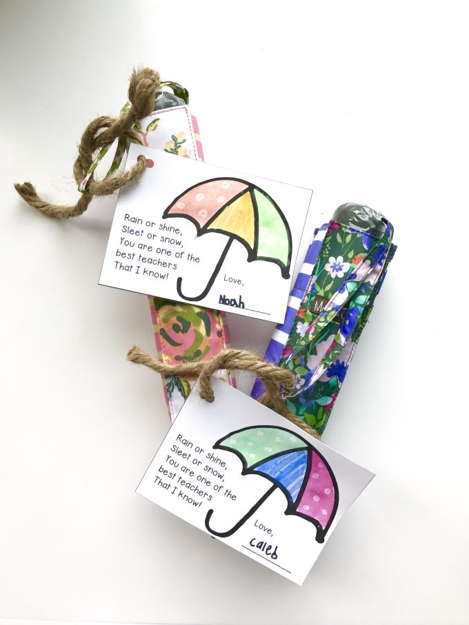 Umbrella and Gift Tag Teacher Appreciation Gift